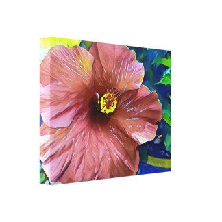 Fleur artistique de ketmie de beau rose toile