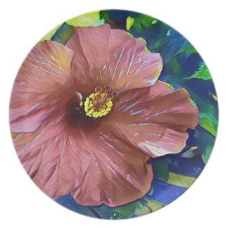 Fleur artistique de ketmie de rose poussiéreux assiette
