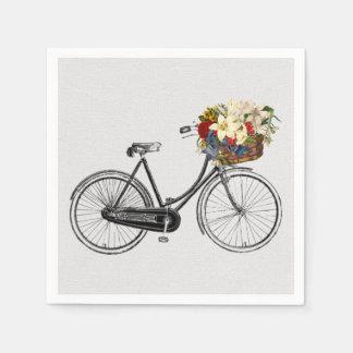 fleur blanche de bicyclette de vélo de serviettes serviette en papier