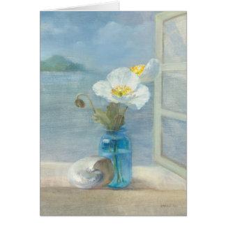 Fleur blanche donnant sur la mer carte de vœux