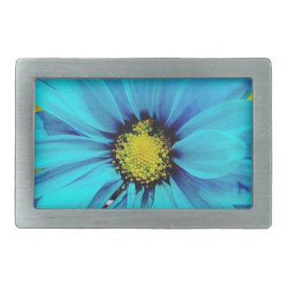Fleur bleue boucles de ceinture rectangulaires