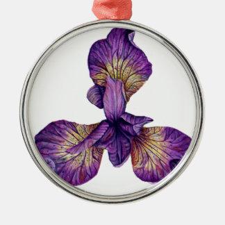 Fleur bleue de Siberica d'iris Ornement Rond Argenté