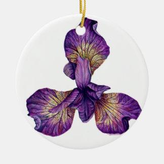 Fleur bleue de Siberica d'iris Ornement Rond En Céramique