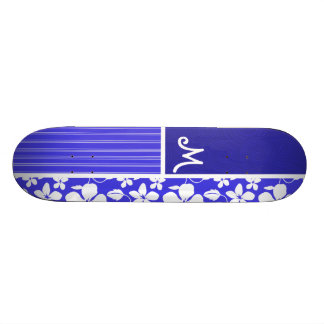 Fleur bleue tropicale de ketmie ; Floral Planches À Roulettes Customisées