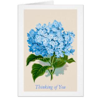 Fleur bleue vintage d'hortensia pensant à vous carte de vœux