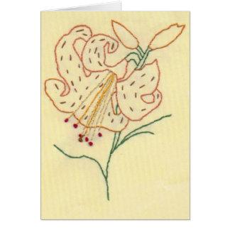 Fleur brodée de lis tigré cartes