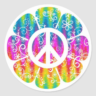 Fleur colorée de symbole de paix sticker rond