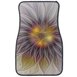 Fleur colorée lumineuse, fractale moderne tapis de voiture