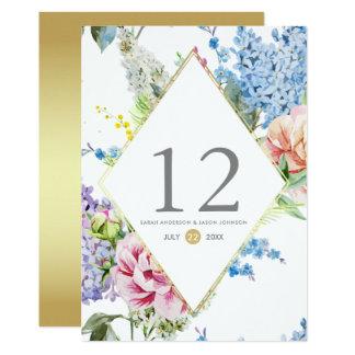 Fleur d'aquarelle du numéro | de Tableau sur l'or Carton D'invitation 12,7 Cm X 17,78 Cm