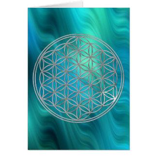 Fleur d'argent de la vie  , vagues bleu-vert carte de vœux