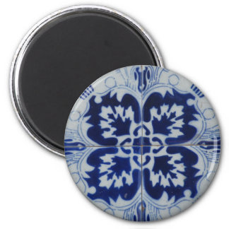 Fleur d'Azulejo Magnet Rond 8 Cm