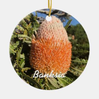 Fleur de Banksia Ornement Rond En Céramique