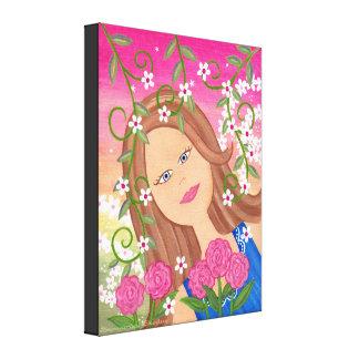 Fleur de chardon - la fille 16x20 féerique badine toiles tendues sur châssis