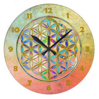 Fleur de DES Lebens - or de la vie/Blume coloré Grande Horloge Ronde