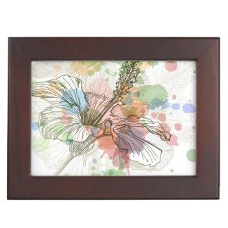 Fleur de ketmie et arrière - plan d'aquarelle boîte à souvenirs