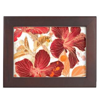 Fleur de ketmie - peinture 2 d'aquarelle boîtes à souvenirs