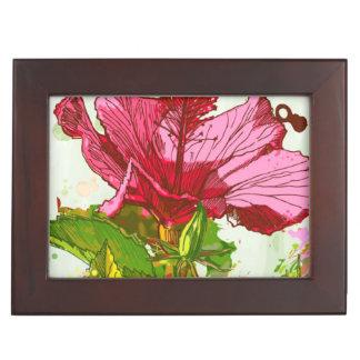 Fleur de ketmie - peinture d'aquarelle boîte à souvenirs