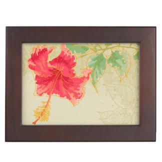 Fleur de ketmie sur l'arrière - plan modifié la boîte à souvenirs