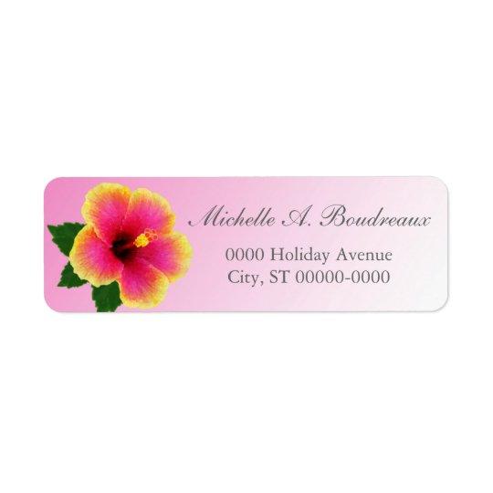 Fleur de ketmie sur le rose étiquettes d'adresse retour