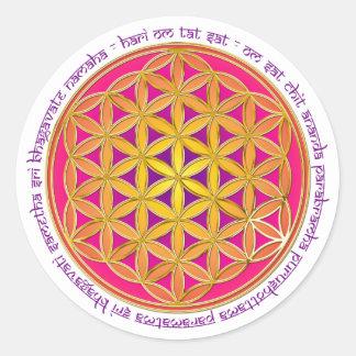 Fleur de la vie d incantation de Moola Autocollants Ronds