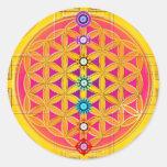 FLEUR DE LA VIE/de DES Lebens - chakras de Blume Adhésif Rond