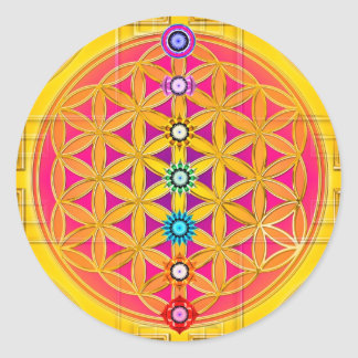 FLEUR DE LA VIE/de DES Lebens - chakras de Blume Sticker Rond