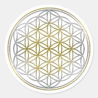 FLEUR DE LA VIE/de DES Lebens de Blume - bicolore Sticker Rond