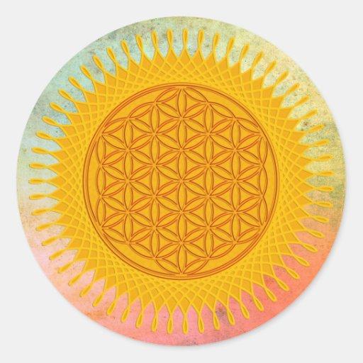 Fleur de la vie - ensoleillé jaune autocollants ronds