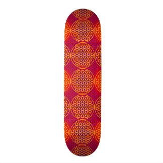 Fleur de la vie - motif de timbre - rose orange plateaux de planche à roulettes