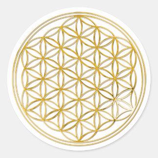 FLEUR DE LA VIE - or Sticker Rond