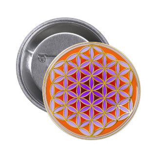 Fleur de la vie - style 04 de bouton badge avec épingle