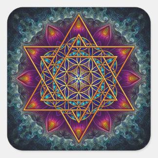 Fleur de l'autocollant de la vie - conception sticker carré
