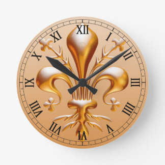Fleur de Lis (de Lys) Horloge Ronde