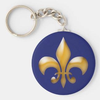 Fleur de Lis Keychain en marine et or Porte-clés