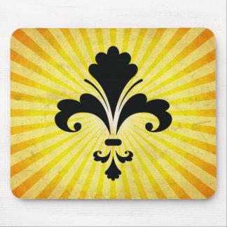 Fleur de lis Silhouette ; jaune Tapis De Souris