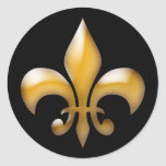 Fleur de Lis Stickers en noir et or Sticker Rond