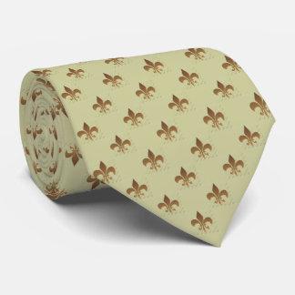 Fleur de lis sur la cravate bronzage de Zazzle