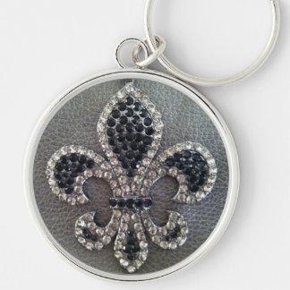 Fleur de lis sur le porte - clé d'impression de porte-clé rond argenté