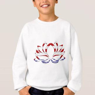 Fleur de Lotus blanc et bleu rouge Sweatshirt