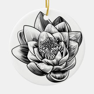 Fleur de Lotus de nénuphar E gravé par gravure sur Ornement Rond En Céramique