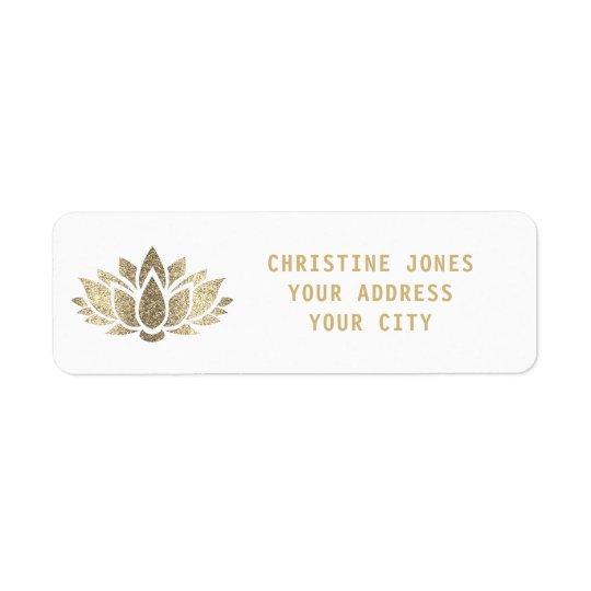 fleur de lotus de scintillement d'or de faux étiquette d'adresse retour