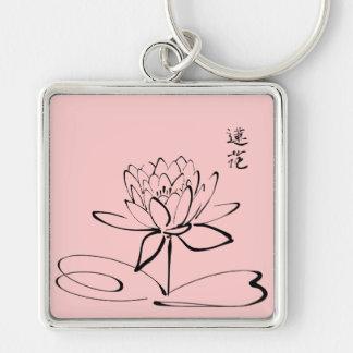 Fleur de Lotus de zen Porte-clé Carré Argenté