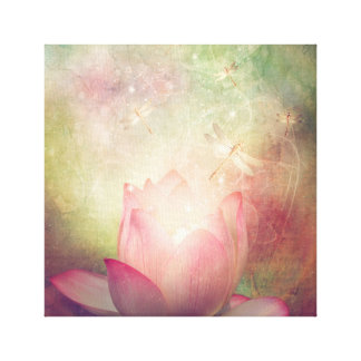 Fleur de Lotus et copie de toile de libellules