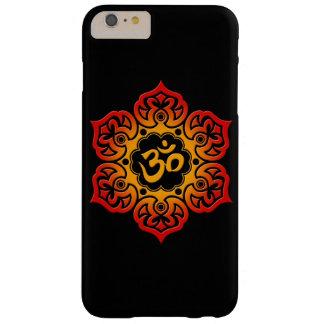 Fleur de Lotus rouge et jaune OM sur le noir Coque iPhone 6 Plus Barely There