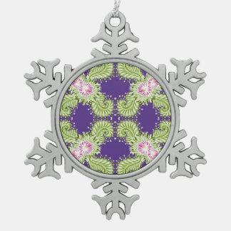 Fleur de minuit ornement flocon de neige pewter