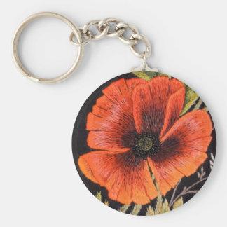 Fleur de pavot porte-clé rond