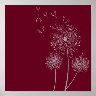 Fleur de pissenlit sur l'art de Bourgogne Poster