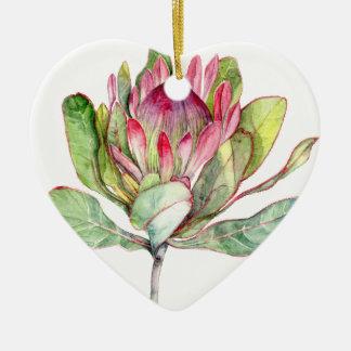 Fleur de Protea Ornement Cœur En Céramique