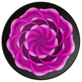 Fleur de rose de rose assiettes en porcelaine