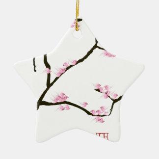 fleur de Sakura avec les oiseaux roses, fernandes Ornement Étoile En Céramique